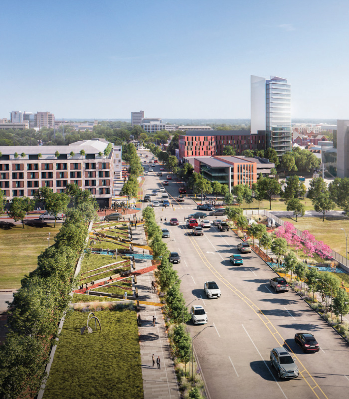 Oklahoma City Innovation District arial rendering of 10th street by Perkins & Will