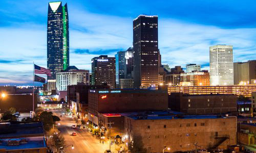 Night time photo of Oklahoma City